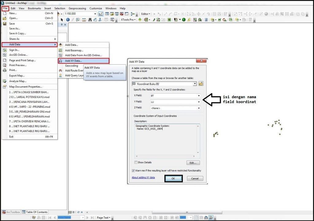 Menampilkan XY Data ArcGIS
